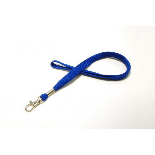 CORDON UNI POLYESTER TUBE 12 mm AVEC CROCHET METAL - Bleu roi - Accueil