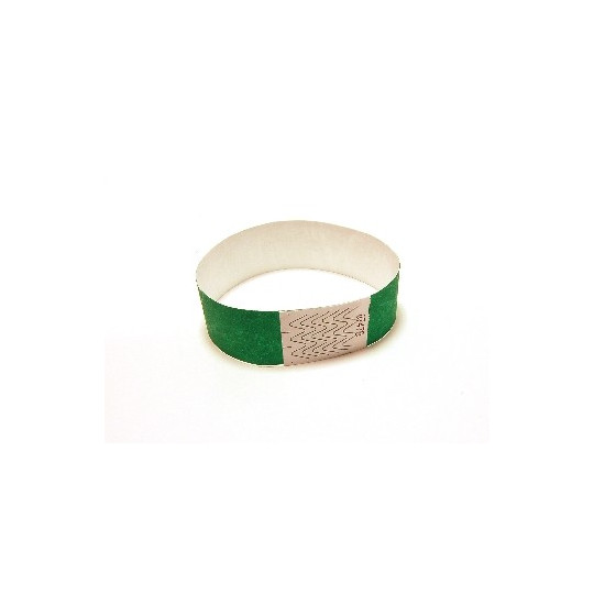 BRACELET TYVEK NUMEROTE LARGEUR 25 MM (EMBALLAGE PAR 100) - Vert - Accueil