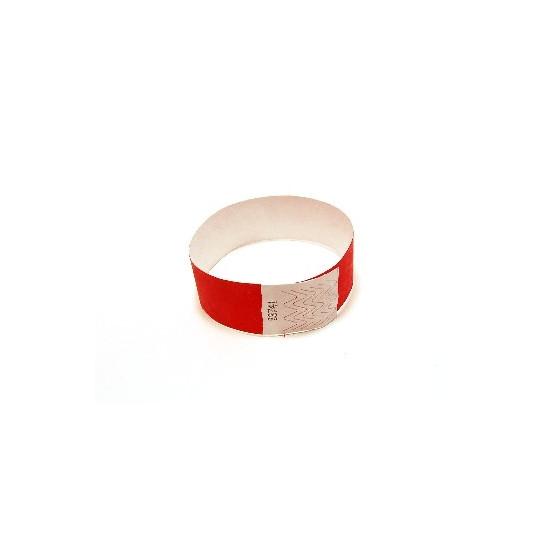BRACELET TYVEK NUMEROTE LARGEUR 25 MM (EMBALLAGE PAR 100) - Rouge - Accueil