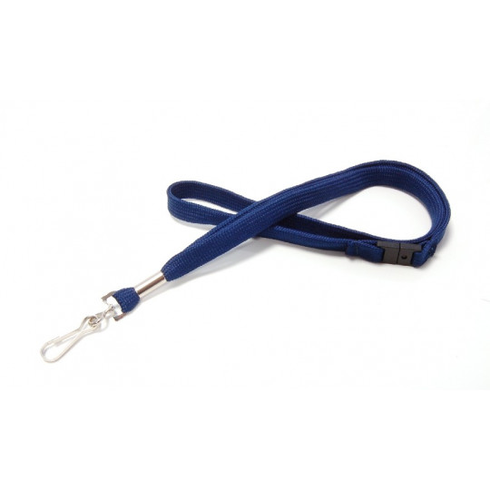CORDON 12 mm POLYESTER AVEC MOUSQUETON METAL ET RUPTURE SECURITAIRE - Bleu marine - Accueil