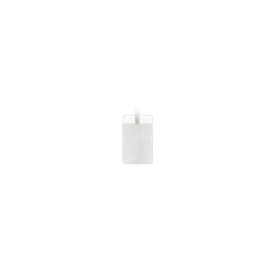 IDS 44 : PORTE-BADGE VINYLE AVEC CLIP PLASTIQUE IDP 14 BLANC - Vertical - Accueil