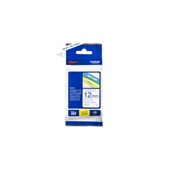 Ruban D'Etiquettes Brother Bleu Sur Blanc - 12mmx8m - Réf: TZe233