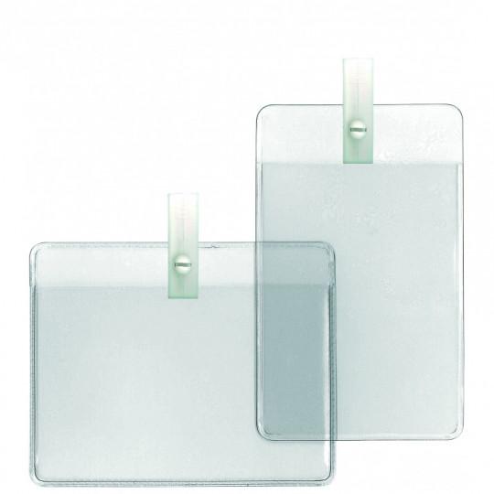 Porte-badge souple vinyle avec clip plastique - Vertical - Réf : 1456504
