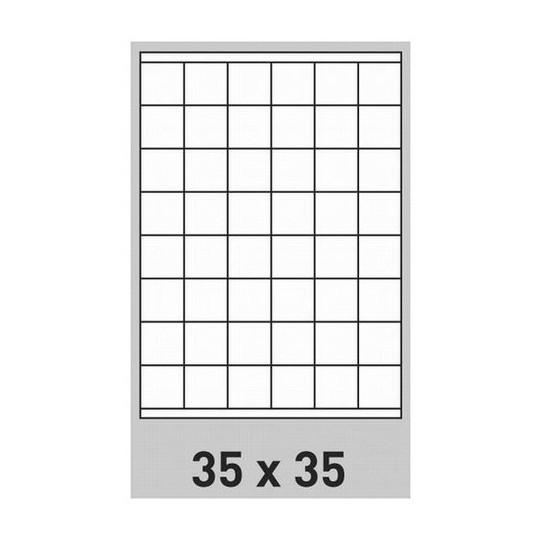 Etiquette en planche 35 x 35 mm-9 600 étiquettes-Réf : 0189