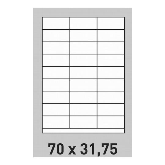 Etiquette en planche 70 x 31,75 mm- 5 400 étiquettes-Réf : 0192