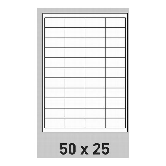 Etiquette en planche 50 x 25 mm-22 000 étiquettes-Réf : 3153