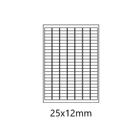 Etiquette en planche 25 x 12 mm-16 100 étiquettes-Réf :  3166