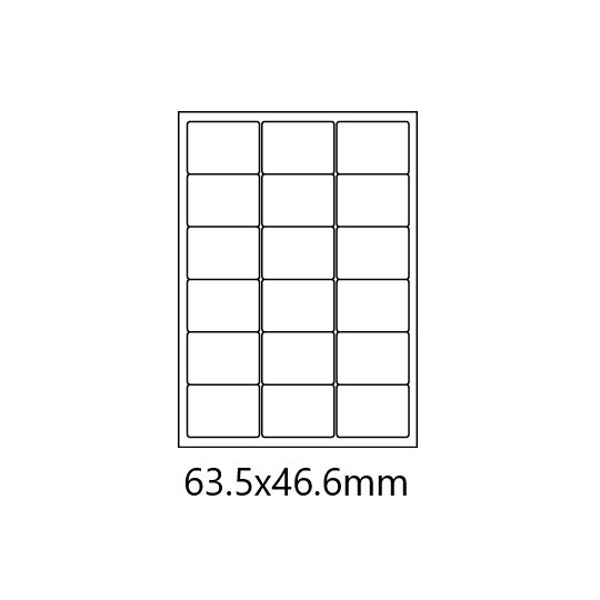 Etiquette en planche 63,5 x 46,6 mm- 1 800 étiquettes- Réf : 0166