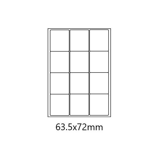 Etiquette en planche 63,5 x 72 mm-12 000 étiquettes-10 Boîtes-Réf : 0167X10