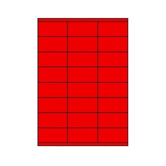 Etiquette en planche rouge 70 x 37 mm- 2 400 étiquettes - Réf : 3388