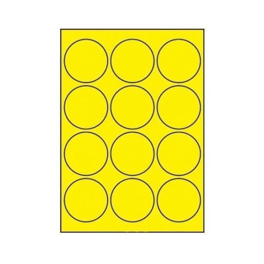 Etiquette en planche diamètre 63,5 mm-1 200 étiquettes jaune fluo - Réf : 0223