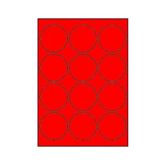Etiquette en planche ronde diamètre 63,5 mm-1 200 étiquettes rouge - Réf : 3397