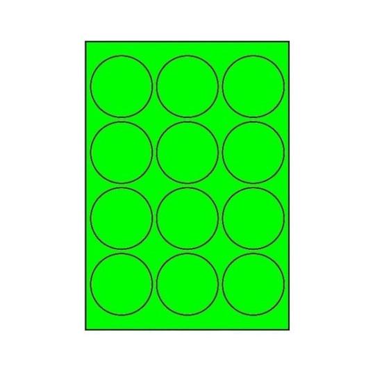 Etiquette en planche ronde verte diamètre 63,5 mm - 1 200 étiquettes - Réf : 3398