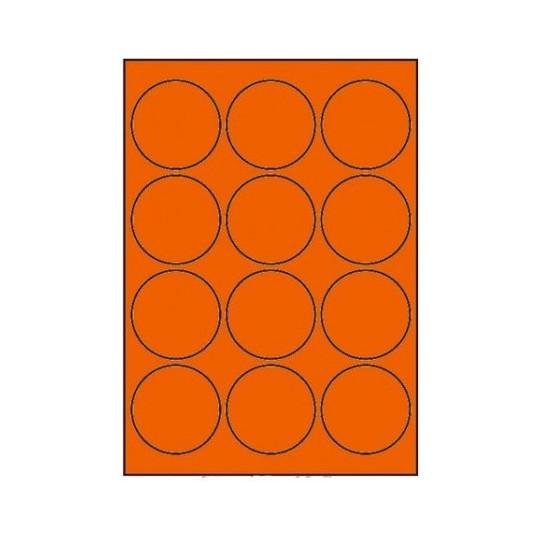 Etiquette en planche ronde orange diamètre 63,5 mm -12 000 étiquettes -10 Boîtes-Réf : 4032X10