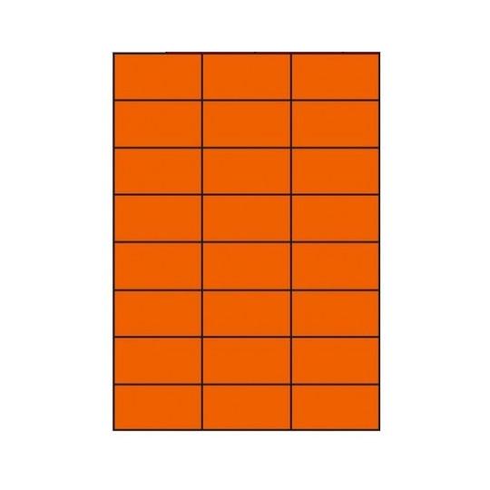 Etiquette en planche orange 70 x 37 mm-2 400 étiquettes - Réf : 4033